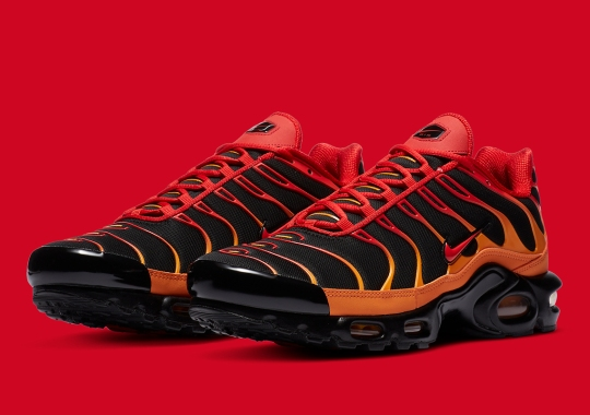 "Nike Air Max Plus ""Volcano"" Features Lava-Hot Overlays"