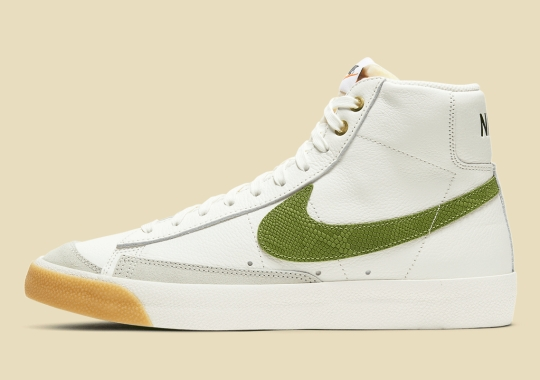 Green Snakeskin Swooshes Appear On This Gum Toe-Capped Nike Blazer Mid