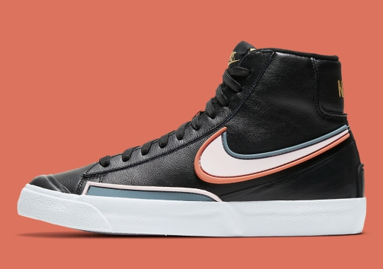 The Nike Blazer Mid D/MS/X With Rubber Overlays Appears In Black