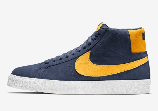 "The Nike SB Blazer Mid Receives A Faded ""Michigan"" Look"