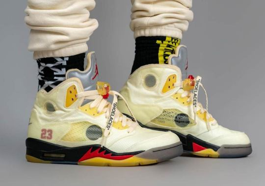 """Updated On-Foot Look At The Off-White x Air Jordan 5 """"Fire Red"""""""