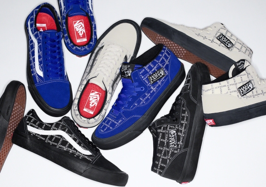 Supreme And Vans Accent The Old Skool And Half Cab With Printed Logo Patterns