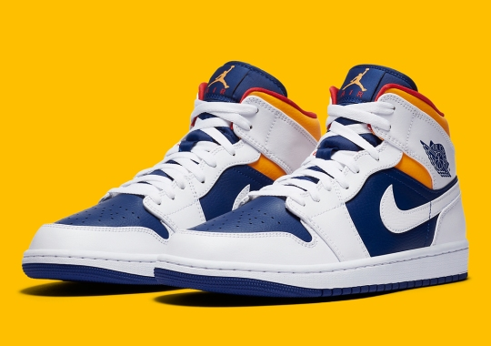 Air Jordan 1 Mid Arrives In A Mix Of Blue, Red, And Orange
