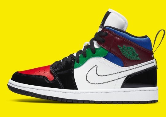 This Multi-Colored Patent Air Jordan 1 Mid Features Large Heel Loops