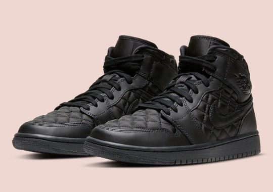 """Air Jordan 1 Mid """"Triple Black"""" Gets Quilted Uppers"""