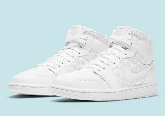The Air Jordan 1 Mid Premium Adds Lux Quilted Panels In White