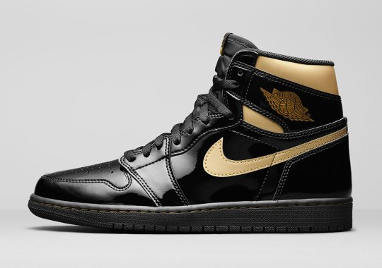 """Official Images Of The Air Jordan 1 Retro High OG """"Black/Gold"""" Patent Leather"""