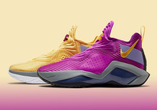 """The Nike LeBron Soldier 14 """"Lakers"""" Alternates Purple And Gold"""