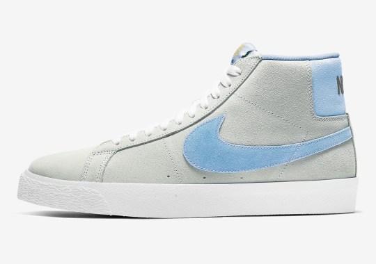 Nike SB Blazer Mid Pairs Soft Grey With Baby Blue