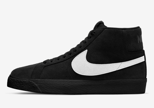 The Nike SB Blazer Mid Gets A Solid Black Suede Upper With Contrasting White Swooshes