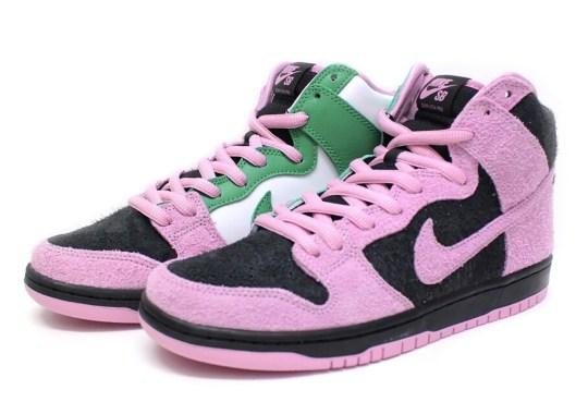 "This Nike SB Dunk High Hides A ""Celtics"" Colorway Inside A Pink/Black Mix"