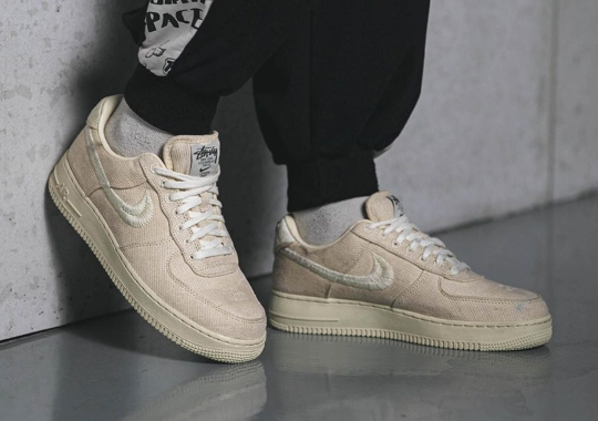"On-Foot Look At The Stussy x Nike Air Force 1 Low ""Fossil Stone"""