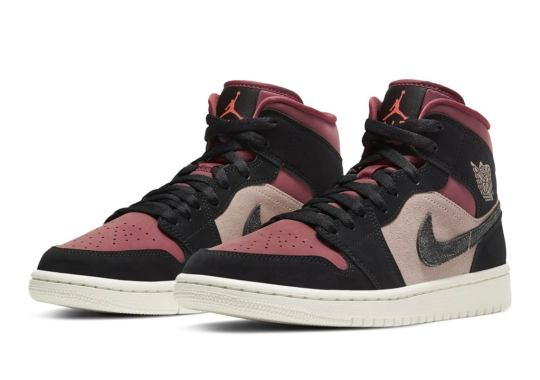 Burgundy And Dusty Pink Cover This Womens Air Jordan 1 Mid