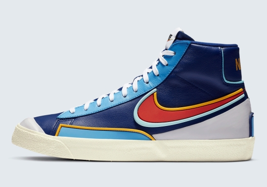 The Nike Blazer Mid '77 D/MS/X Adds Mulit-Colored Overlays On Deep Royal Blue Leather