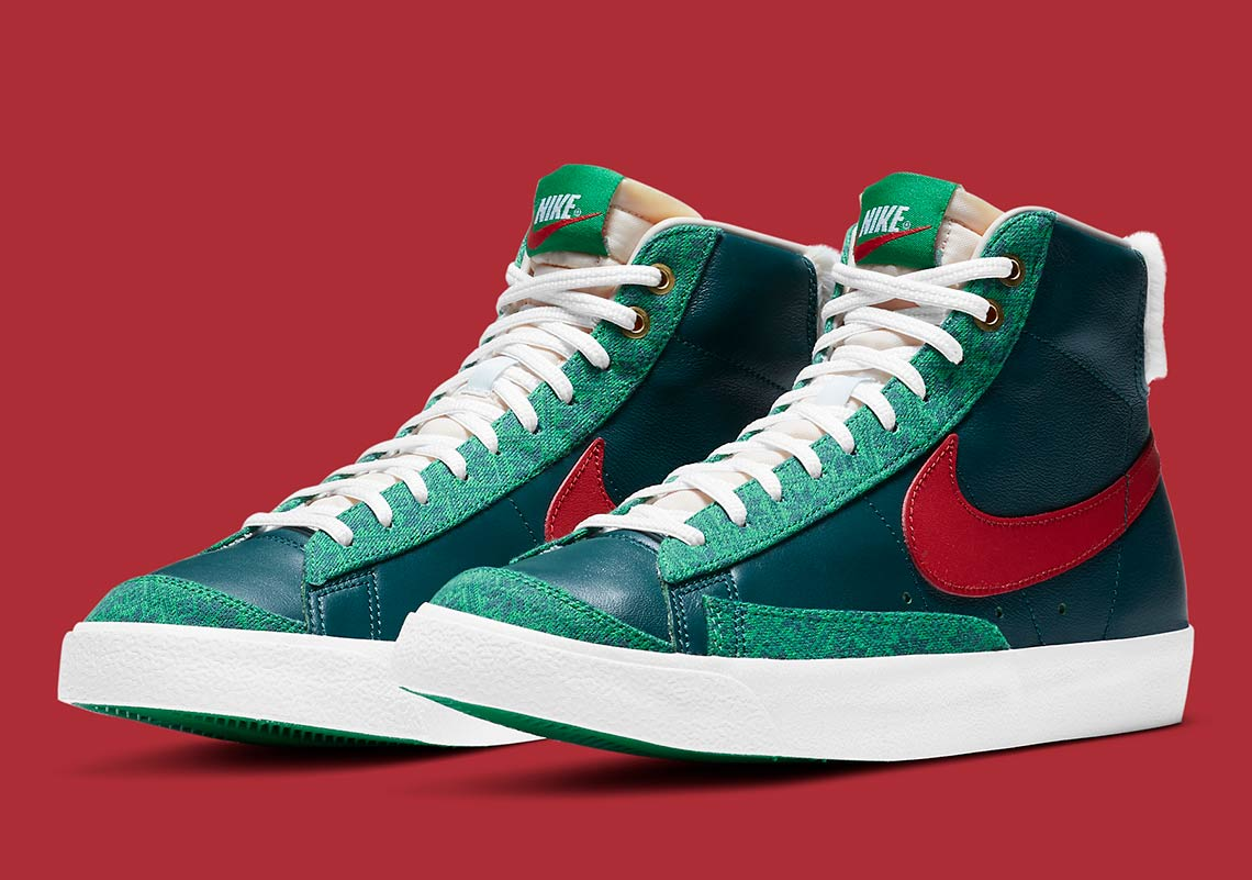 2020 All Christmas Sneaker Releases Nike Blazer Mid Christmas DC1619 300 Release Info | SneakerNews.com