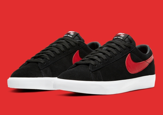 Classic Black And University Red Lands On The Nike SB Blazer Low GT