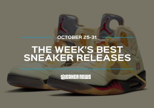 "The Off-White x Air Jordan 5 ""Sail"" And Air Jordan 1 ""Mocha"" Headline This Week's Best Sneaker Releases"