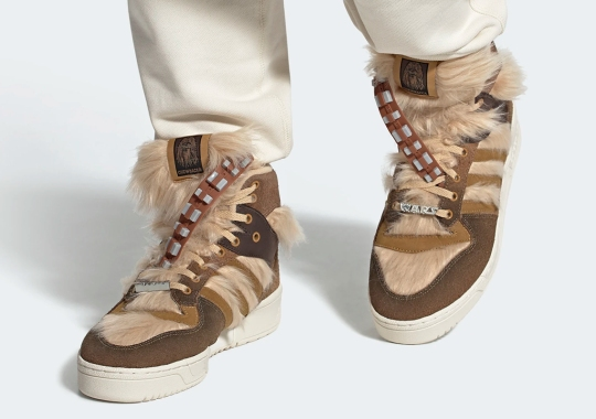 Chewbacca's adidas Rivalry Hi Covered In His Brown Fur And Belt