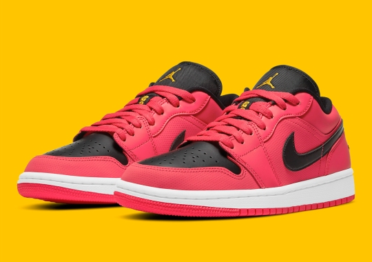 Micro-perforated Air Jordan 1 Low For Women Covered In Bright Red Leather
