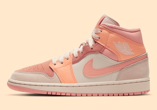 "Air Jordan 1 Mid ""Apricot Orange"" Features Basketball Leather Uppers"