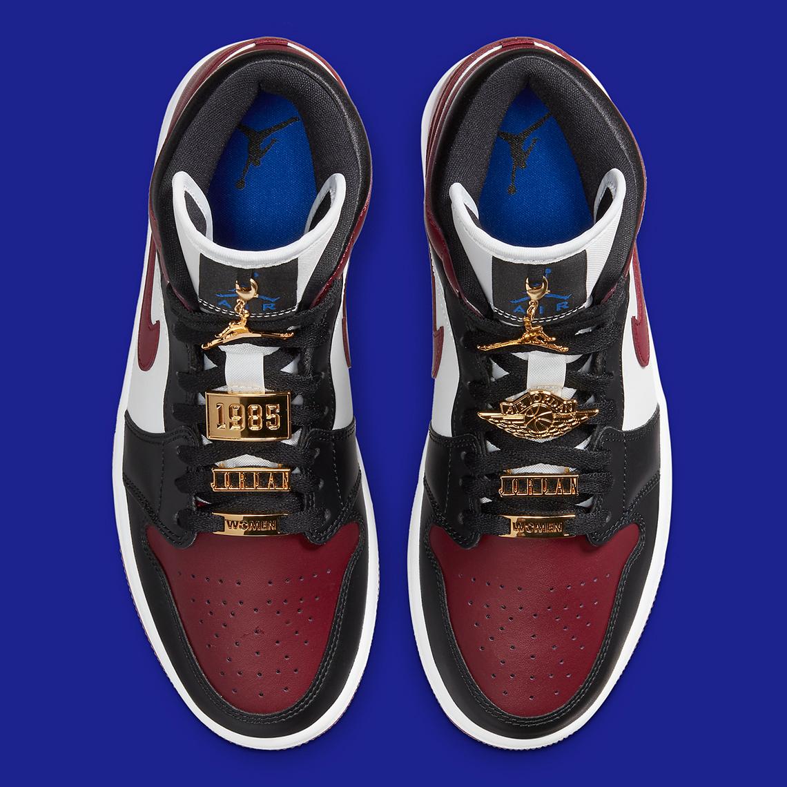 Air Jordan 1 Mid WMNS Maroon Black Gold
