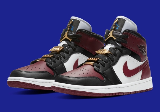 "More Golden Pendants Appear On This Women's Air Jordan 1 Mid ""Maroon"""