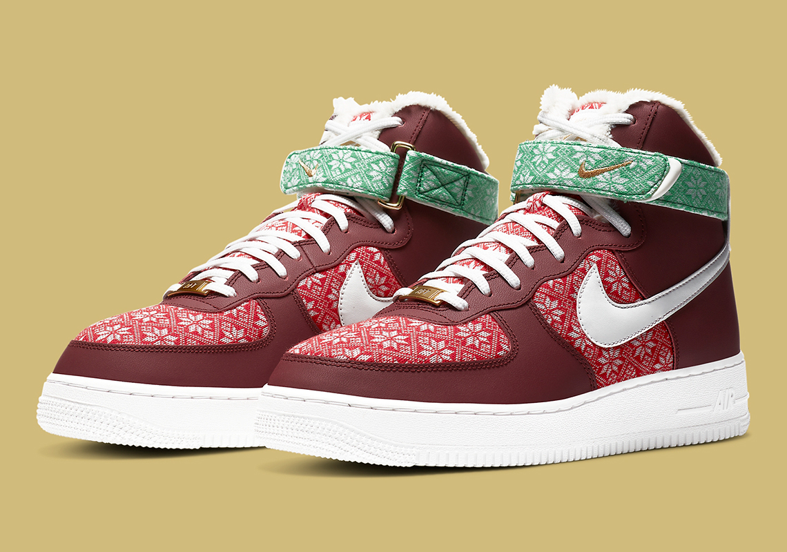 Nike Air Force 1 High Christmas DC1620 600 | SneakerNews.com