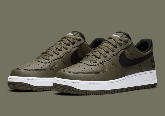 """The Nike Air Force 1 Low """"Double Swoosh"""" Is Releasing Soon With Olive Green Uppers"""
