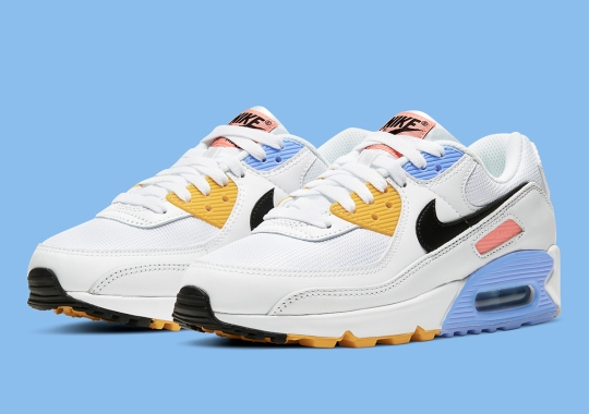 This Women's Nike Air Max 90 Gets Accents Of Solar Flare And Atomic Pink