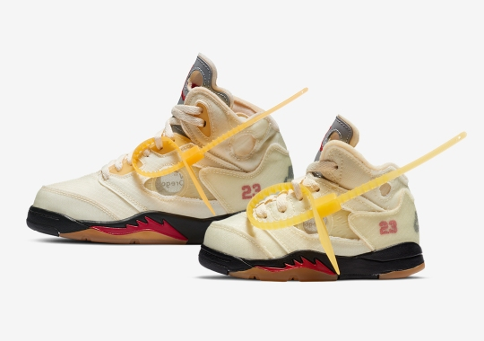 "Off-White x Air Jordan 5 ""Sail"" Also Releasing In Pre-School And Toddler Sizes"