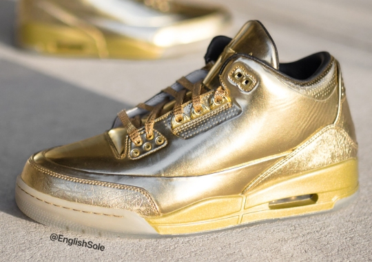 Detailed Look At Usher's All-Gold Air Jordan 3 Sample, 1 of 10 In Existence