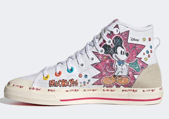 Mickey Mouse x adidas NIZZA Hi Covered In Scribbled Lab Notes