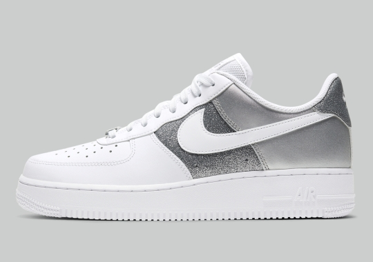 This Nike Air Force 1 Receives Silver Paneling, Matte And Crusted