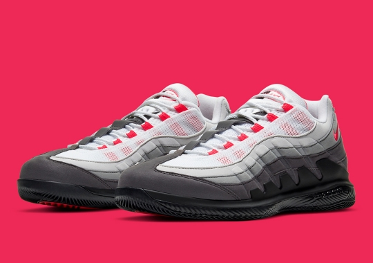 The NikeCourt Vapor Fused With The Air Max 95 Is Coming Soon In Solar Red