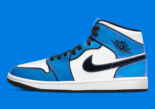 """The Air Jordan 1 Mid Appears With """"Signal Blue"""" Patent Leather"""