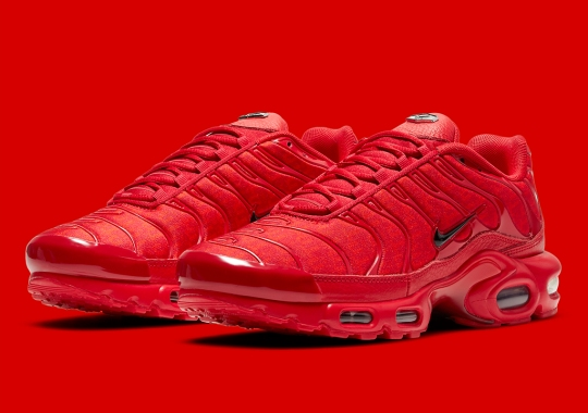 "The Nike Air Max Plus Gets A Bold All-Red Look With A ""Tn"" Patterned Upper"