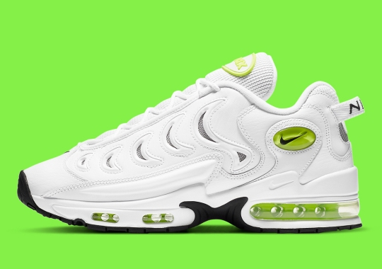 The Nike Air Metal Max Is Outfitted With White Leathers And Volt Accents