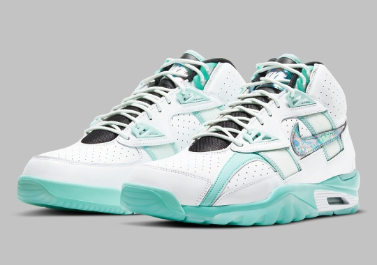 "The Nike Air Trainer SC High ""Abalone"" Appears With Minty Green And Iridescent Accents"