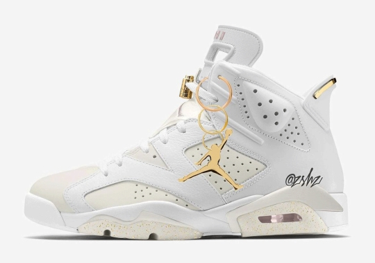"""The WMNS Air Jordan 6 Surfaces In A """"Barely Rose"""" And """"Metallic Gold"""" Colorway"""