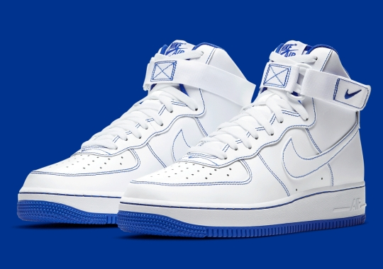 Royal Blue Contrast Stitching Appears On The Nike Air Force 1 High