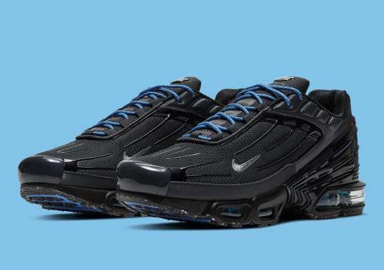 The Nike Air Max Plus 3 Trickles In Blue Against A Triple Black