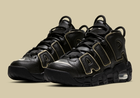 The Nike Air More Uptempo For Kids Adds Black Textured AIR With Gold Accents