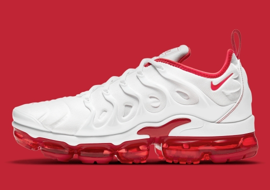 "The Nike Air VaporMax Plus Returns In A Two-Tone ""White/University Red"""