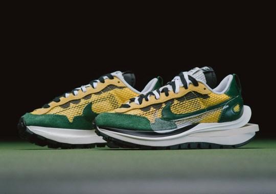 The sacai x Nike VaporWaffle Tour Yellow/Gorge Green Releases Tomorrow
