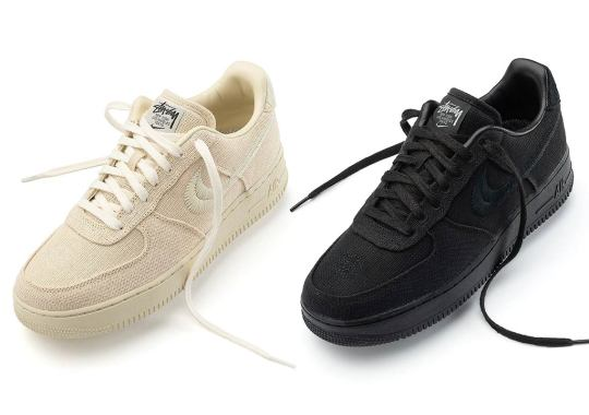 "Where To Buy Stussy x Nike Air Force 1 ""Black"" And ""Fossil"""