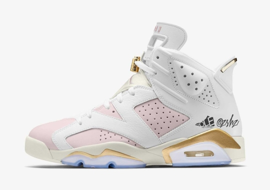 "The WMNS Air Jordan 6 Surfaces In A ""Barely Rose"" And Metallic Gold"" Colorway"
