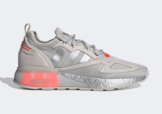Silver Metallic And Solar Red Cover This adidas ZX 2K Boost