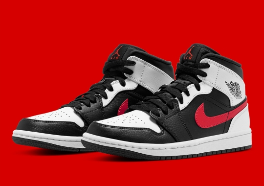 The Air Jordan 1 Mid Appears in White, Black And Red