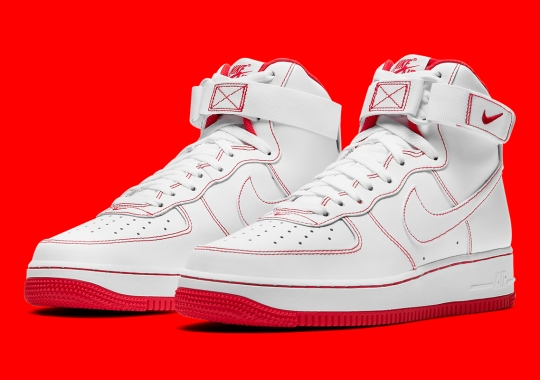 Contrast Stitching In Primary Colors Continue On The Nike Air Force 1 High