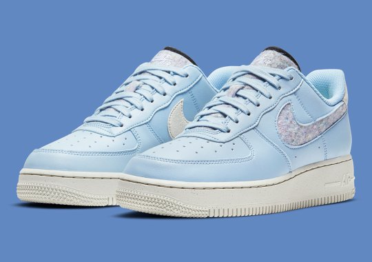 "Nike Air Force 1 Low ""Light Armory Blue"" For Women Features Recycled Wool Swooshes"